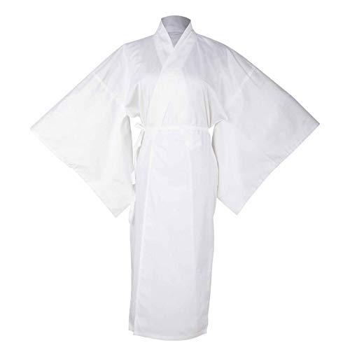 Women's Traditional Japanese Kimono Robe Yukata Underwear Long hadajuban 3/4-length sleeve Bathrobe Solid Cotton Lining Nightwear (Kimono Juban White)