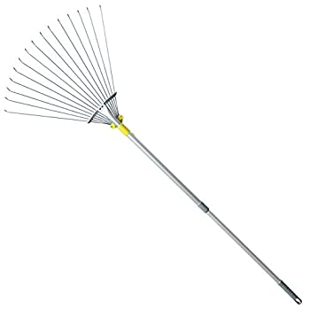 Jardineer 63 inch Adjustable Garden Rake Leaf Collect Loose Debris Among Delicate Plants Lawns and Yards Expandable Head from 7 inch to 23 inch Ideal Garden Rake Tools