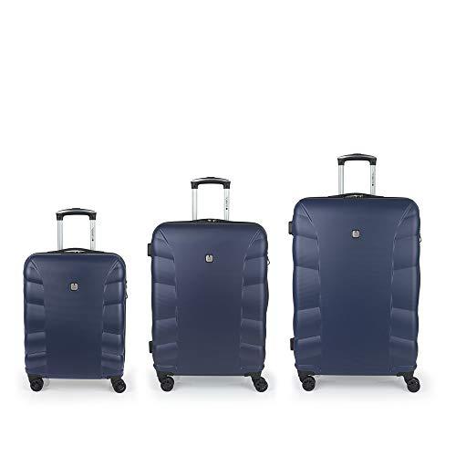Gabol - London   Set de Maletas de Viaje Rigidas de Color Azul con Maleta de Cabina, Trolley Mediano y Trolley Grande