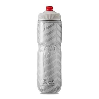Polar Bottle Breakaway Insulated Bike Water Bottle - BPA Free, Cycling & Sports Squeeze Bottle (Bolt - White & Silver, 24 oz)
