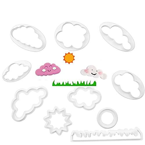 Mobci 10 Pezzi Stampo per Torta a Forma di Nuvola, Formine Biscotti Nuvola, Biscotti Fondente Che Decora Muffa in Plastica per Fondente e Pasticceria