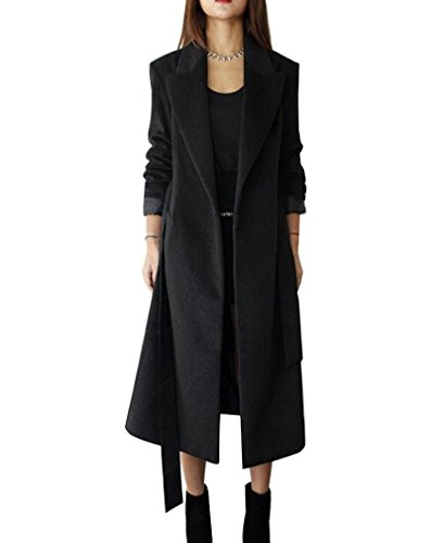 LaoZan Cappotto lungo invernale da donna,Cardigan Giacca a maniche lunghe miscela di lana con cintura S Nero