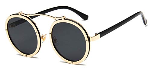 Sunwd Gafas de Sol, Popular Women Round Sunglasses Designer Vintage Men Matte Frame Sun Glasses UV400 Golden Black