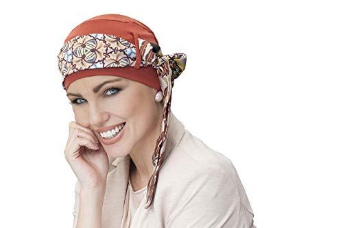Masumi Headwear Pañuelo Oncológico Mujer · Yanna marrón 2 estampad