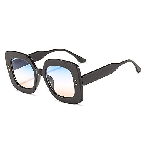 U/N Gafas de Sol de Gran tamaño, cuadradas, Planas, Negras, Rojas, de Moda para Mujer, Gafas de Sol Vintage para Mujer, Grandes Sombras-2