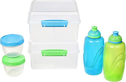 water bottles for kids bpas Sistema To Go Kids Lunch Boxes & Meal Containers   2 Twist 'n' Sip Kids Water Bottles, 2 Lunch Cube Max with Dividers & 2 Leak-Proof Yoghurt Pots   BPA-Free