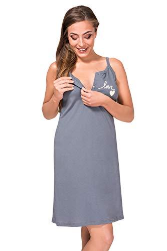 Sibinulo Camisón de Maternidad Pijama Lactancia Vestido Gris L