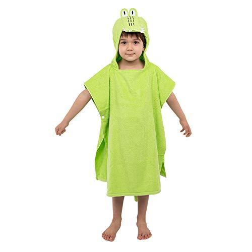 Kinder Badeponcho Kapuzenponcho Kapuzenhandtücher Baumwolle Frottee mit 3D Design Kapuzenbadetücher Badetuch Bademantel Strandtuch Weich Warm Flauschig Schwimmen für Mädchen Jungs (Krokodil)