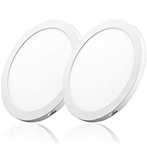 2PK 8inch LED Flush Mount Ceiling Light 18W 5000K Dimmable Round Panel Light LED Recessed Light No Flicker for Closet Room, Stairs, Office, Basement-