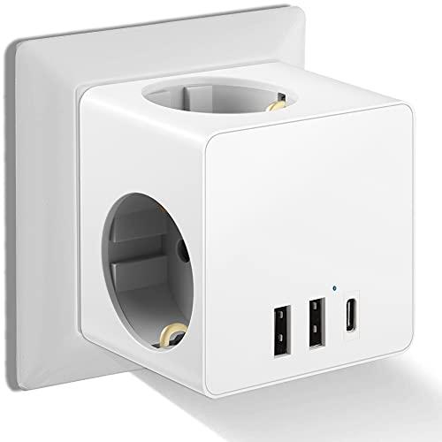 ORSIFOW USB Steckdose, Steckdosenadapter (3680W) mit 2 USB Anschluss und 1 Type-C Port (3.4A Max), Steckdose Würfel für Haushaltsgerät, iPhone, Android, Computer usw Weiß