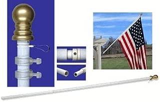 US Flag Store Walls-2 Bracket 7ft Spinner Flagpole-White Aluminum-Pole Only, 7 Feet