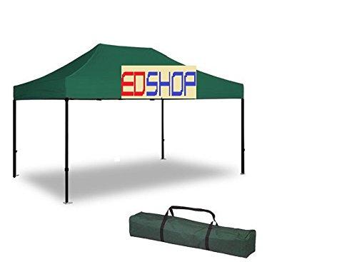 Cilvani Gazebo 3x4.5 Verde E Professionale Impermeabile Gazebo Prof RICHIUDIBILE Verde 3X4,5 mt Pieghevole RAPIDO Automatico FISARMONIC