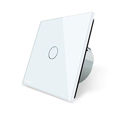 Interruptor de luz de cristal con diseño táctil (1 botón de encendido y apagado), color blanco