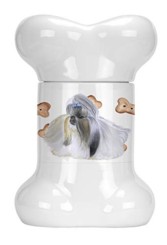 Caroline's Treasures CK2246BSTJ Shih Tzu Bone Shaped Treat Jar, multicolor