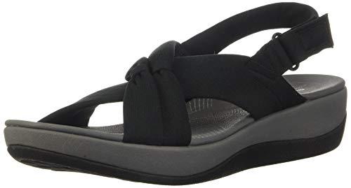 Clarks Women's Arla Belle Sandal, Black Textile, 8 M US