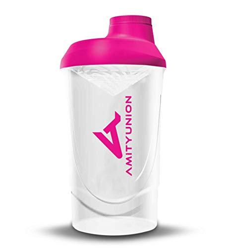 Frauen Protein Shaker 800 ml Pink Weiß Deluxe - ORIGINAL AMITYUNION - Eiweiß Shaker auslaufsicher - BPA frei mit Sieb, Skala für Cremige Whey Shakes, Gym Fitness Becher für Isolate, Sport Getränke