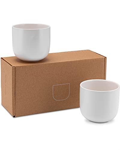 Lambda Coffee® Cappuccino Tassen Set 2 x 160ml in Weiß matt aus Porzellan I Kaffeebecher ohne Henkel & Mokkatassen für Kaffee rund und klein I spülmaschinen geeignet