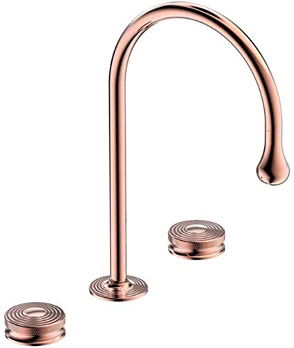 Grifo de lavabo de latón para agua fría y caliente, grifo mezclador de doble mango con 3 agujeros, color oro rosa