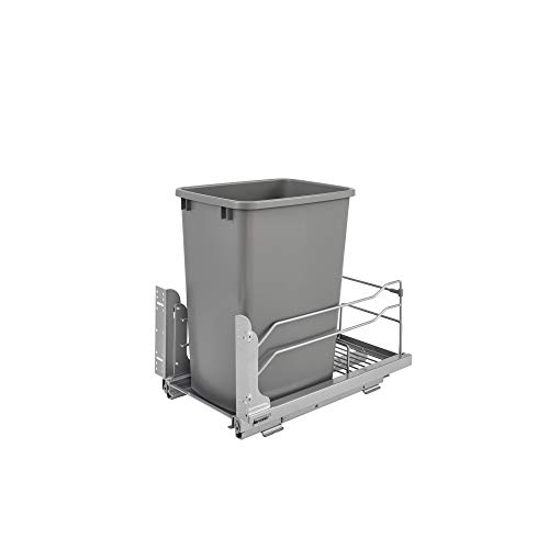 Rev-A-Shelf 53WC-1535SCDM-117 Single 35-Quart Kitchen Base Cabinet Pull Out Waste Container Trash Can with Soft-Close Slides Gray