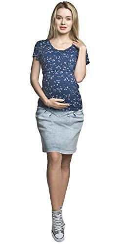 Torelle Umstandsrock, Schwangerschaftsrock Suzi, Jeansrock für Schwangere, hochwertige Baumwolle! (XL, Hellblau)