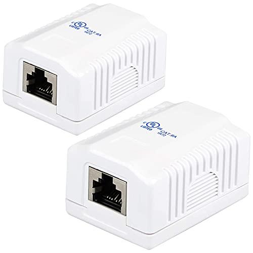 VESVITO 2X Netzwerkdose CAT 6A, 1x RJ45 Buchse, Aufputz Dose, Datendose, Anschlussdose, geschirmt für CAT 7, CAT 6A, CAT 6, CAT 5e Netzwerkkabel, Verlegekabel, Lankabel Netzwerk Ethernet LAN Kabel