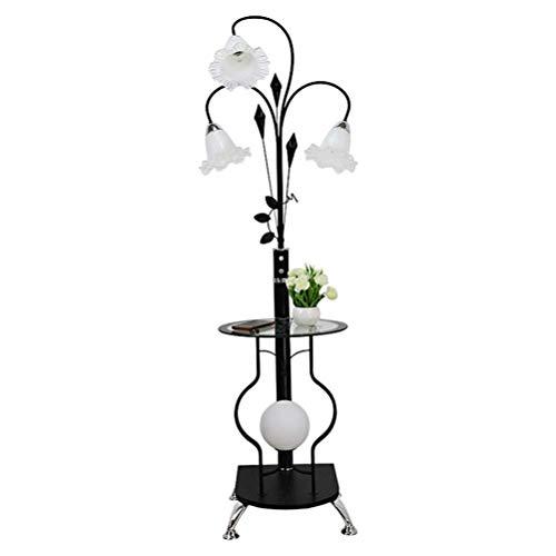 Casa grande centro comercial de hierro Lámpara de pie |Moderna minimalista lámpara de pie con una pequeña mesa |para sala de estar dormitorio Estudio Alto 160cm (Color: Blanco) (Color : Black)