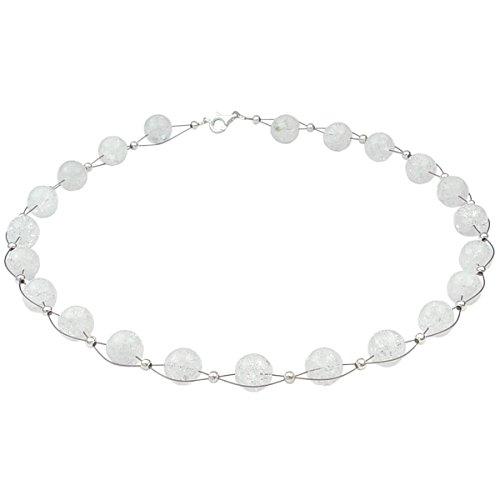 Halskette Collier Kugel-Kette aus Bergkristall mit Crack-Struktur weiß, 48cm für Hochzeit Brautkleid
