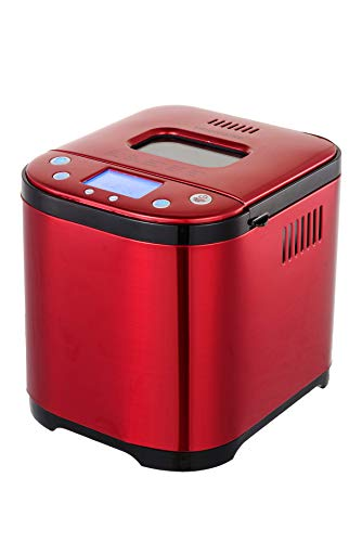 FRIGIDAIRE Red Stainless Bread Making Machine Maker, 2LB XL 15-in-1, Settings Incl Gluten Free, Cake & Yogurt, Nonstick Bowl, 3 Loaf Sizes 3 Crust Colors, Bread Hook, Cup, Spoon Included