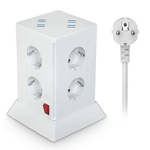 Regleta con 8 enchufes (2500 W/10 A), enchufe múltiple puertos USB y enchufes, múltiple, torre de protección contra sobretensión cortocircuitos, para casa oficina, cable 2 m, color blanco
