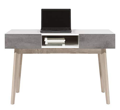 Furniture24 Schreibtisch, Schminktisch, Laptoptisch, Arbeitstisch SCANDIC SC11 mit 2 Schubladen