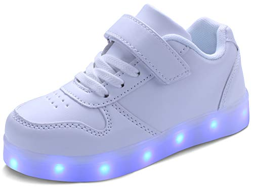MILEADER Boys Girls LED Shoes White Light Up Shoes 7 Colors USB Charging Sneakers Low-Top LED Sports Shoes for Kids,Suitable for Festivals Party Dancing - 29