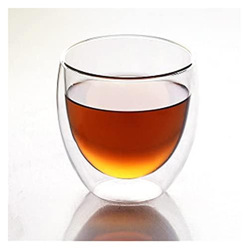 ZIS 1/6 PCS Vidrio Resistente al Calor Copa de Vidrio de Doble Pared Copa de café Conjunto de Taza de Cerveza Hecha a Mano Taza de té Vidrio de té Vidrio de Vidrio Tazas de Vidrio (Color : B 250ml)