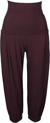 Golden Lutz - Damen Yogahose Yoga Hose Sporthose, Capri (Gr. S 36/38, Bordeaux - weit/Relaxed fit)