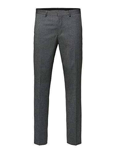 SELECTED HOMME Herren SLHSLIM-MYLOLOGAN DK GR STRUC TRS B NOOS Anzughose, Grau (Dark Grey Melange), W(Herstellergröße: 42)