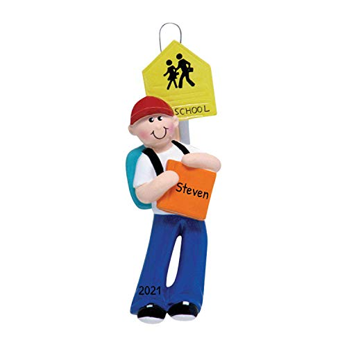 Personalized School Boy Christmas Tree Ornament 2020 - Sign First Day Book Blue Bag Elementary Middle High Collage Momentous Occasion 1st Education Brunette Blonde Gift Year - Free Customization