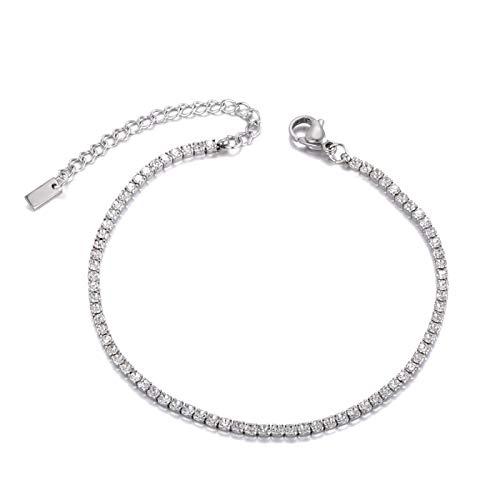 yqs Pulsera de cristal espumoso encanto brazaletes para mujeres niñas acero inoxidable cadena de enlace Bohemia playa acero color