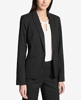 TOMMY HILFIGER Womens Black Pin Dot Printed Blazer Jacket US Size: 10