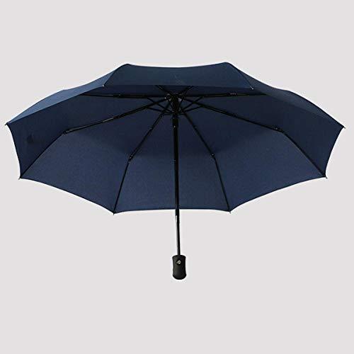 flqwe Regenschirm Mit Automatischem Knopf,Dreifach Automatikschirm, Sonnenschirm einfarbig Taschenschirm-Navy,Kompakter Falt-Regenschirm