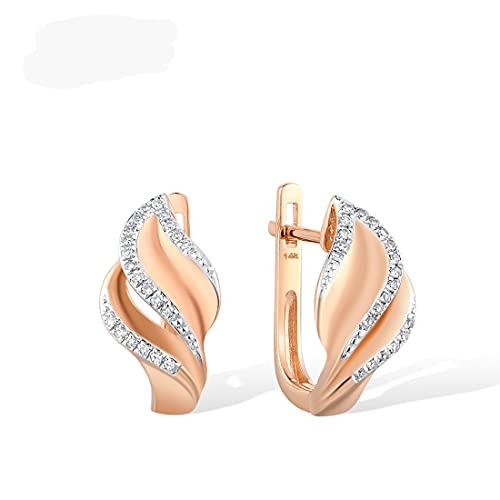 HHBB Pendientes de oro para mujer 14k 585 pendientes de hoja de diamantes brillantes encantadores y elegantes de oro rosa
