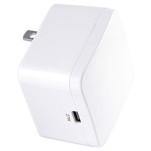 GE 27W USB-C Wall Charger, for iPhone 11/Pro/Max/XS/XR/X/8, iPad Pro/Air/Mini, Samsung Galaxy S10/S9/Plus, Google Pixel C/3/2/XL and More, Foldable Prongs, White, 39930