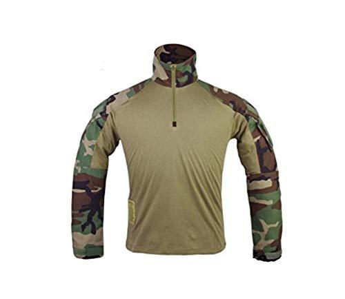 DLP Tactical Gen 3 Long Sleeve Combat Shirt (Woodland Camo, X-Large)