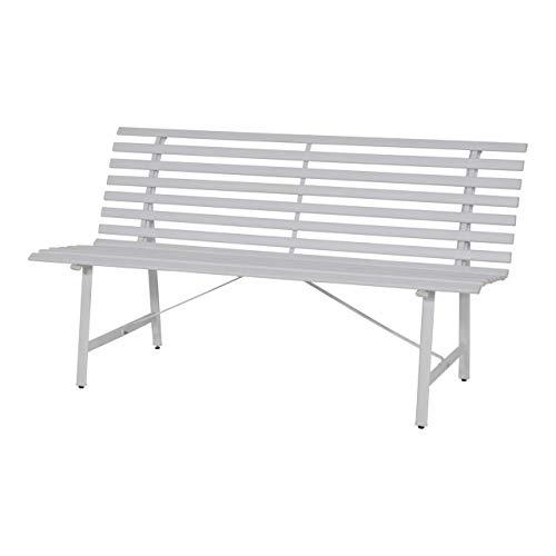 Lesli Living Gartenbank 3 Sitzer 150 cm Parkbank Sitzbank Bank Metallbank Stahlbank Gartenmöbel weiß