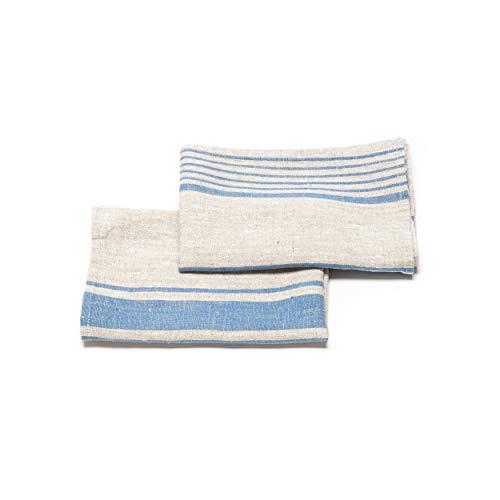 LinenMe Set 2 Natur/Blau Gestreifte Handtücher Provence 0075701