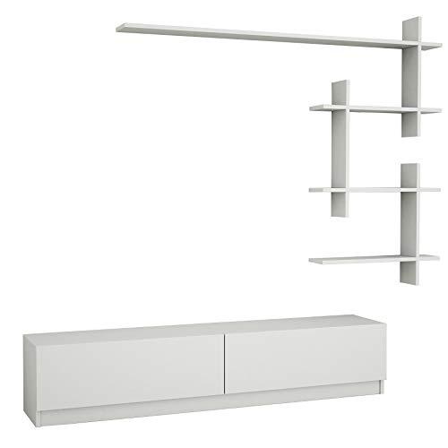 Alphamoebel Ahenk 4101 Weiß, TV Board Lowboard Fernsehtisch Sideboard, Fernseh Hängeschrank für Wohnzimmer Designerregal, 220 x 31,3 x 32,9 cm