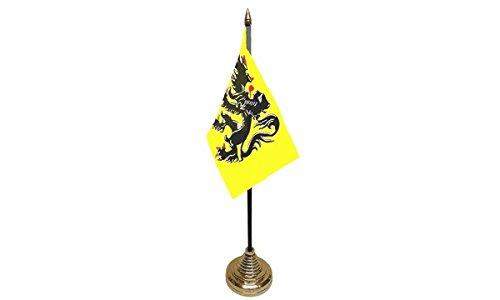 Pack van 3 Vlaanderen Leeuw Vlaams-België Belgische Desktop Tafel Middenstuk Vlag Vlag Vlaggen Met Gouden Bases Ideaal Voor Partij Conferenties Kantoorscherm