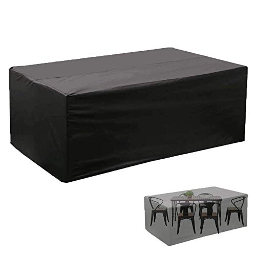 CCZUIML Protective Cover for Garden Furniture, Waterproof, Breathable, Oxford Fabric, Garden Table Cover, Rectangular, Black