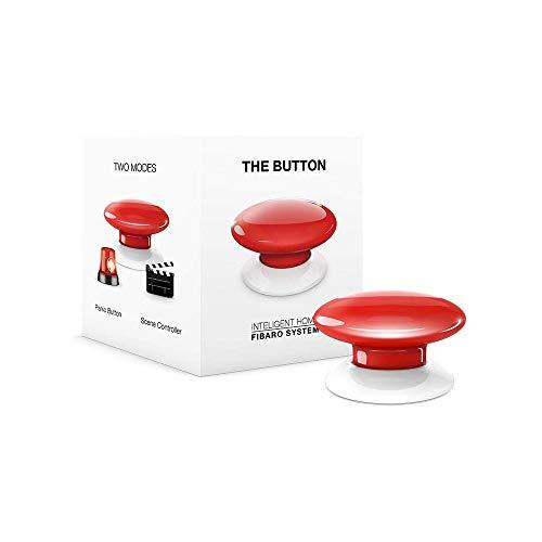 FIBARO The Button Red/Contrôleur de Scènes Z-Wave +, Rouge, FGPB-101-3