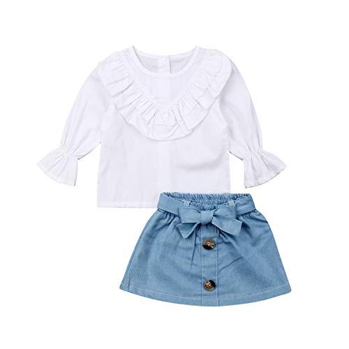 Conjunto de 2 peças para bebês e meninas de manga comprida com babados + conjunto de saia jeans retrô, White Ruffle Tops +Blue Denim Skirt, 1-2 Years
