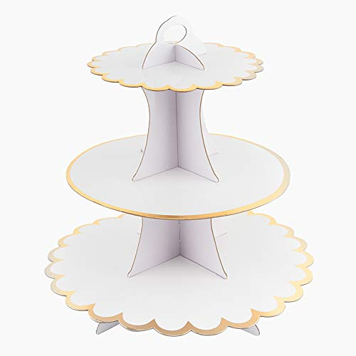 3-Tier Cardboard Cupcake Stand/Tower, Flyome Round Dessert Tree Tower, Universal for Thanks Giving Day, Christmas, Weddings, ,Birthdays, Parties, White/Gold