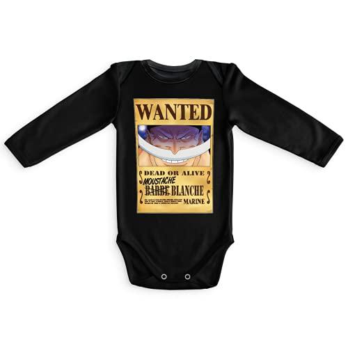 Okiwoki Body bébé manches longues Noir parodie One Piece - Edward Newgate - Barbe Blanche - Le Wanted secret... : (Body bébé de qualité supérieure de taille 6 mois - imprimé en France)